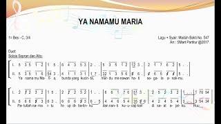 Ya Namamu Maria – Madah Bakti 547 | SATB – Teks Kor Lagu Rohani Not Angka