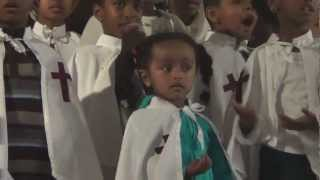 New kids sing song in Ethiopian Orthodox Church.