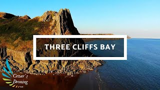 A journey to Three Cliffs Bay, Swansea Wales 4K Drone