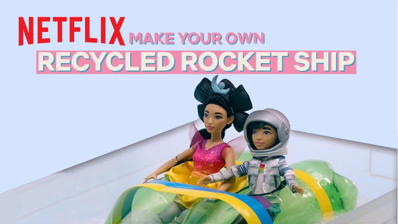 DIY Recycled Bottle Rocket Ship 🚀 Over the Moon | Netflix J