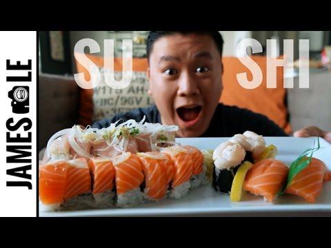 SUSHI FEAST MUKBANG - SALMON ROLL/STINKY ROLL/NIGIRI