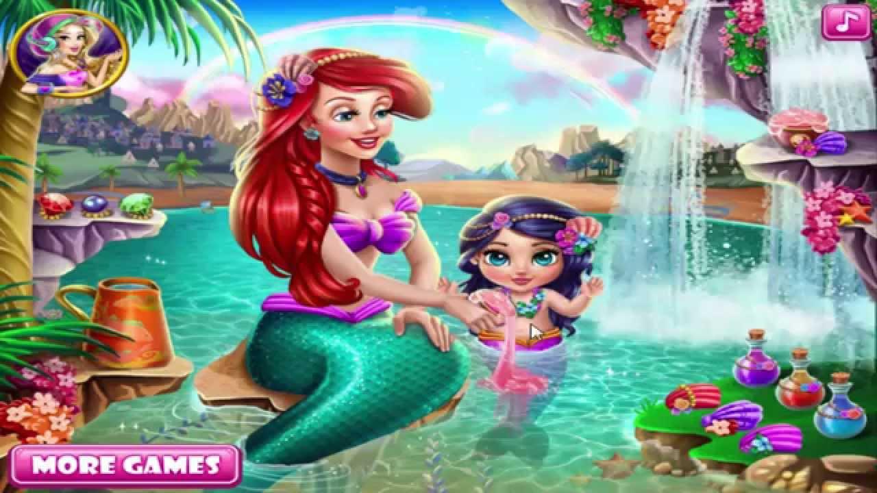 Disney Princess Games Ariel Baby Care Makeup Dress Up