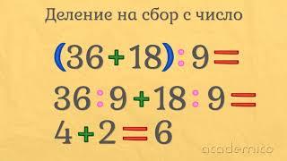 Умножение и деление на сбор с число - Математика 3 клас | academico