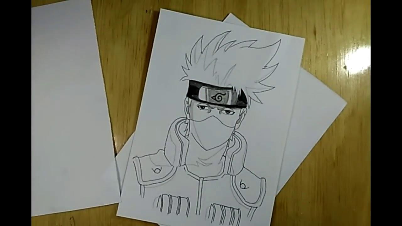 Speed drawing menggambar kakashi anime manga menggunakan pensil