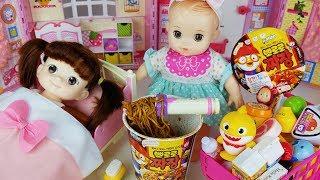 Baby doll mart register food and pororo noodle cooking toys play 아기인형과 뽀로로 짜장면 마트 장난감놀이 - 토이몽