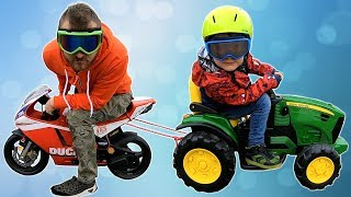 Tractor vs Motor bike Race | Timko and Papa Pretend Play with Toy Cars #timkokid