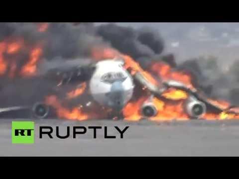 Cargo Plane Inferno: Airstrikes hit Yemen Sanaa Intl Airport