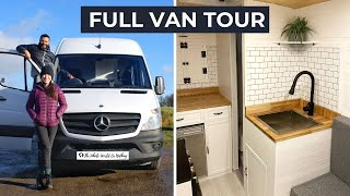 VAN TOUR | DIY Sprinter Van Conversion with Full Bathroom | Gorgeous Tiny Home For Off Grid Living