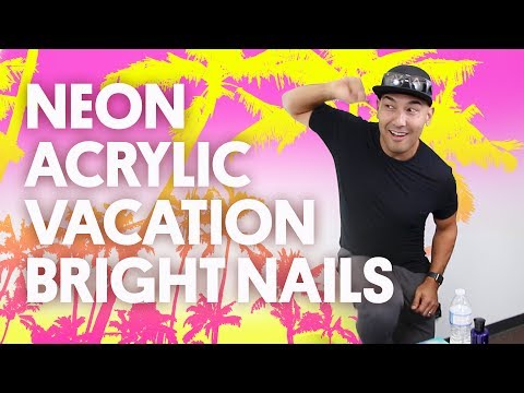 NEON ACRYLIC VACATION BRIGHT NAILS (ACRYLIC + CAPTION STAMPING) - VLOG 42