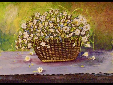 How to Paint  DAISIES in a basket with Acrylic Painting for the beginner, step by step, FULL Lesson