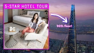 5-STAR HOTEL TOUR in Korea ⭐ 90th Floor Room! 😱