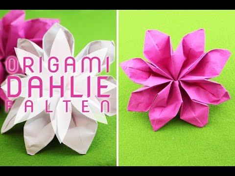 Fleurogami: Origami Dahlie falten - origami dahlia - Faltanleitung ...