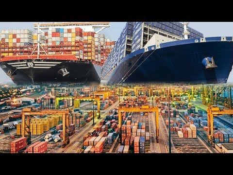 Largest Cargo And Container Ships In Action Plus Seaports Automation
