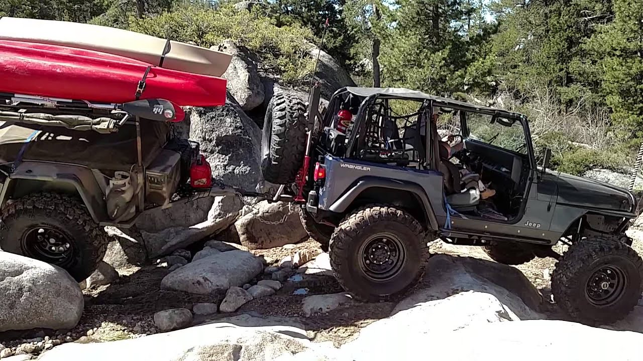 Jeep Tj Overland >> Jeep Pulling Off Road trailer down Slick Rock - YouTube