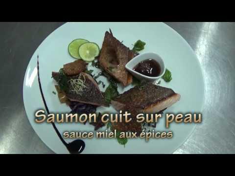 saumon-cuit-sur-peau,-sauce-au-miel