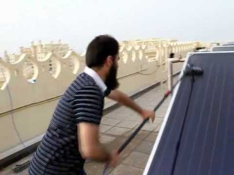 Solar Panel Cleaning Training 3 - Correct Method to Clean Flat Mounted Solar Panels