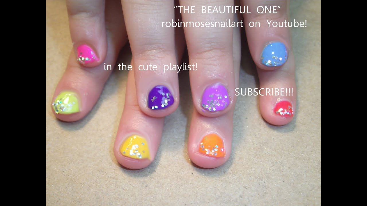 Easy Nail Art For Children Rainbow Glitter Design Youtube