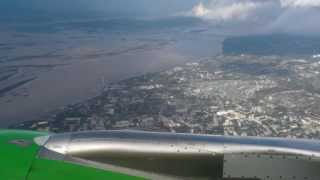 S7 Airlines A320-214 flight S7567 taxiing and takeoff from Khabarovsk Novy