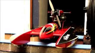 RC Airboat - Scratchbuilt Five Point Airscrew Hydroplane, first installed engine fire up