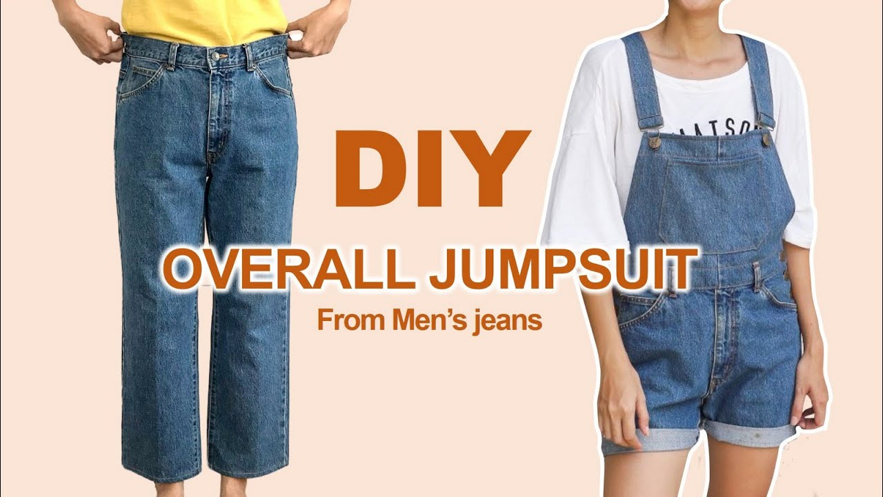 DIY OVERALL JUMPSUIT from Men's jeans - Me-made summer challenge - Ep 6