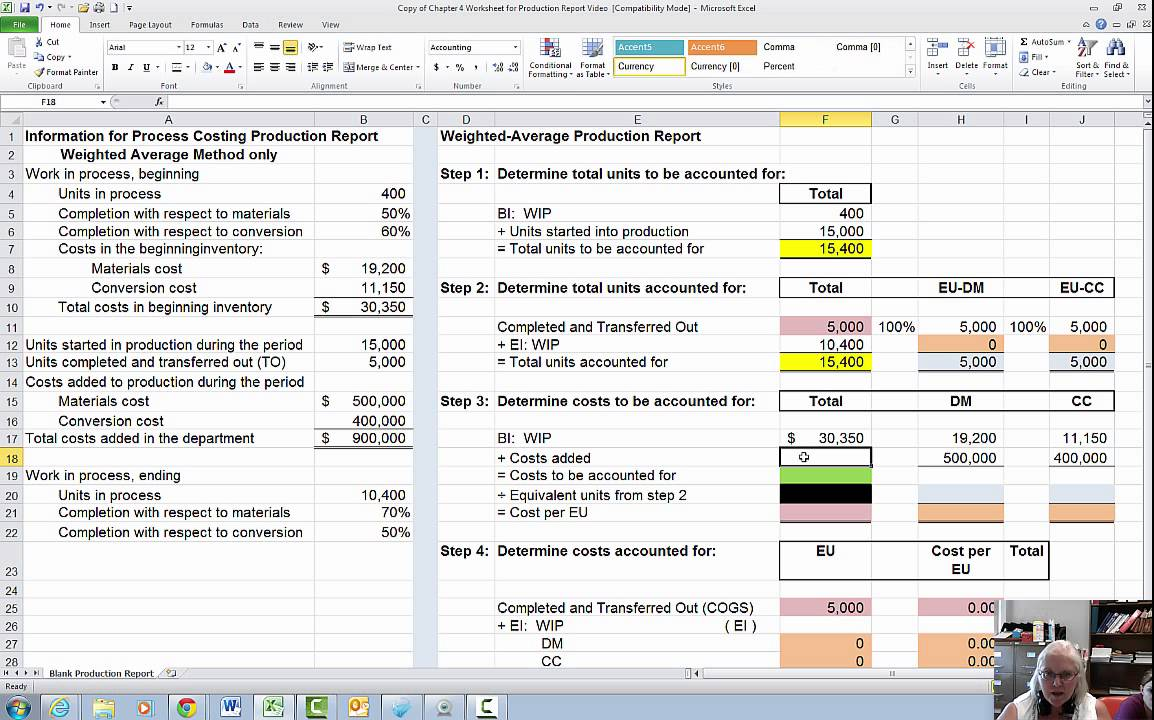Process Costing Production Report Example Video Youtube