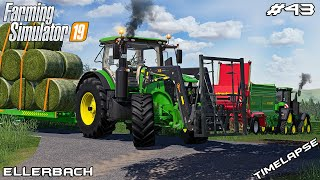 Making grass bales & spreading manure | Animals on Ellerbach | Farming Simulator 19 | Episode 43