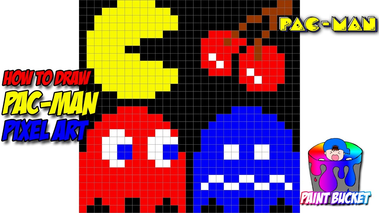 How to Draw Pac-Man - Namco's Pac-Man Pixel Art Drawing ...  How to Draw Pac...