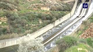 شاهد.. فيضان سد الملك طلال بسبب الأمطار (1/3/2020)