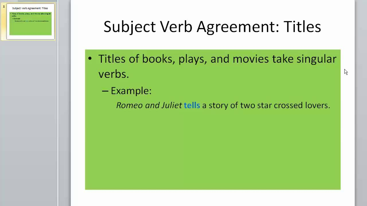 Grammar Subject Verb Agreement Titles Youtube