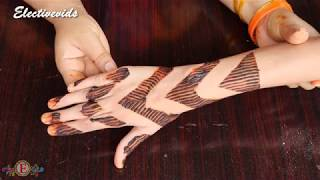 How To apply Simple & Easy Full Hand Mehndi With Help of Cello Tape & Comb