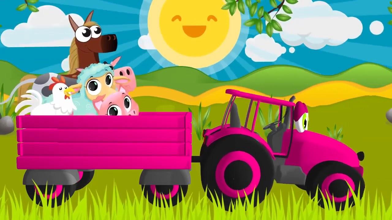 Синий трактор Песенка для детей Мультфильм про машинки ...