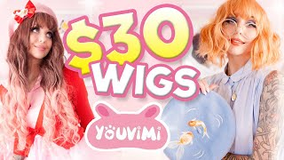 Download TRYING ON $30 WIGS! COULD THEY POSSIBLY... BE... CUTE??!? wtf | Youvimi Wig Review Mp3 and Videos