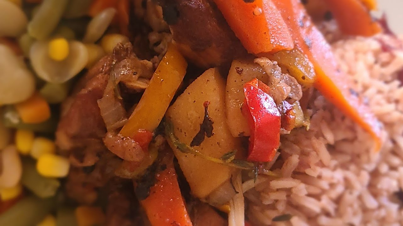 how to make jamaican brown stew chicken and rice and peas