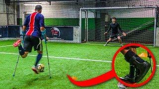 EXTREME KRÜCKEN FUßBALL CHALLENGE (gebrochenes Bein!)
