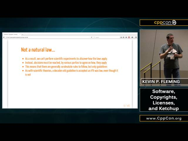 """CppCon 2015: Kevin P. Fleming """"A Crash Course in Open Source Licensing"""