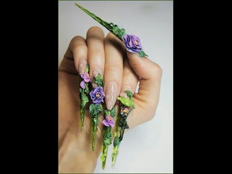 Extreme Stiletto Nail Art - Artwork Nails - YouTube