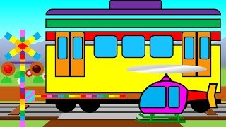 Learn Colors and Numbers with Colorful Train | 踏切と電車の知育アニメ thumbnail