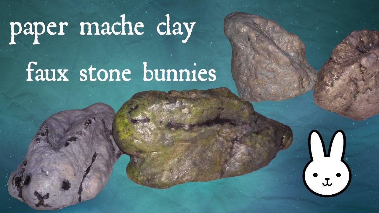 diy: faux stone paper mache clay bunny - YouTube