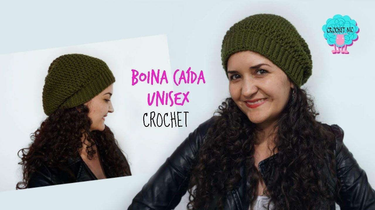 Boina caída unisex a crochet - todas las tallas - YouTube c62a66680aa