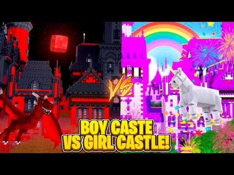 GIRL CASTLE VS BOY CASTLE CHALLENGE - Minecraft Challenge w/ TinyTurtle