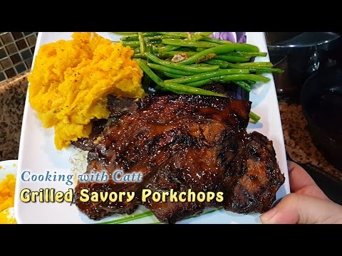 Grilled Porkchop + Mashed Sweet Potato + Garlic Green Beans | Cooking With Catt