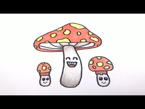 เห็ด สอนวาดรูปการ์ตูนน่ารักง่ายๆระบายสี How to Draw Mushroom Cartoon Easy for Kids