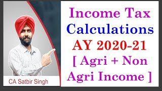 Income Tax Calculation AY 2020-21 I Tax on  Agriculture and Non Agriculture income I CA Satbir Singh