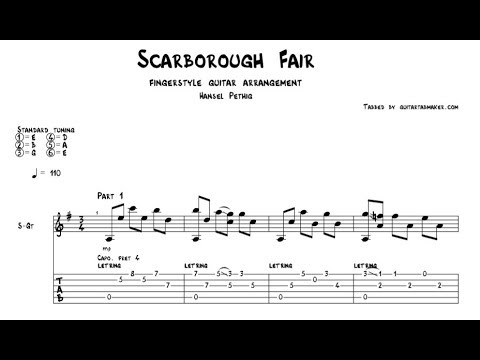 Scarborough Fair TAB - acoustic fingerstyle guitar tab - PDF - Guitar Pro