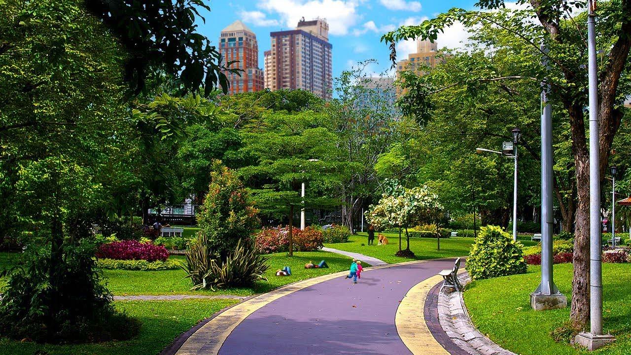 城市公园_City Park Sounds For Relaxation   Birds, Kids Playing, Light Traffic   White Noise ...
