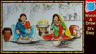 How to Draw Figure Composition of Indian Village Women Cooking Easy Drawing Step by Step Pastel Art