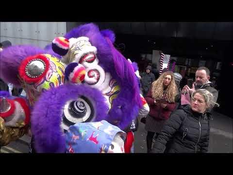 CHINESE NEW YEAR LONDON, 2019, LION DANCE CHINESE NEW YEAR 2019, LONDON, CHINATOWN, TRAFALGAR