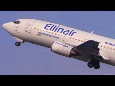 Ellinair Boeing 737-300 Landing & Takeoff @ Corfu Airport - CFU Plane Spotting