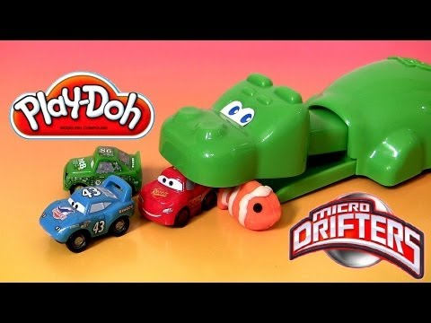 Play Doh Hungry Hungry Hippo Eats Cars Micro Drifters Planes playdough Disney Pixar Hippos toy