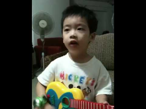 Amos sing song and play guitar